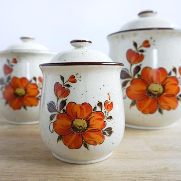Vintage Ceramic Flower Canisters Set of Three